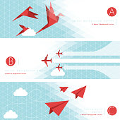 Vector of paper airplane, origami paper birds and airplane with color pattern background banner set. EPS Ai 10 file format.