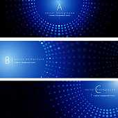 Vector of blue color pattern background banner set. EPS Ai 10 file format.
