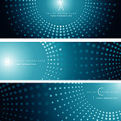 Vector of green color pattern background banner set. EPS Ai 10 file format.