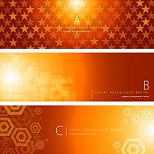 Vector of orange color pattern background banner set. EPS Ai 10 file format.