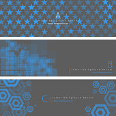 Vector of grey and blue color pattern background banner set. EPS Ai 10 file format.
