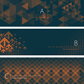 Vector of dark green and orange color pattern background banner set. EPS Ai 10 file format.