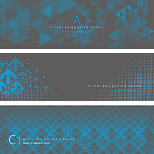 Vector of blue and gray color pattern background banner set. EPS Ai 10 file format.