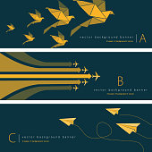 Vector of paper airplane, origami paper birds and airplane with green and yellow color pattern background banner set. EPS Ai 10 file format.