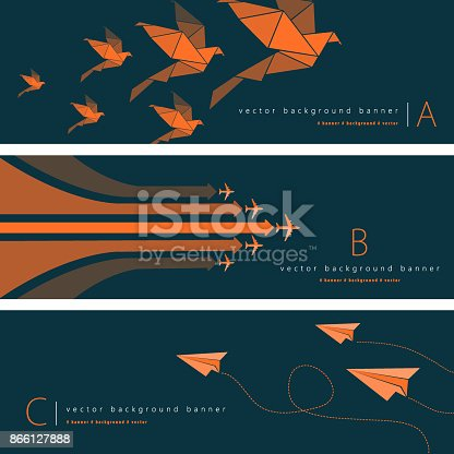 Vector of paper airplane, origami paper birds and airplane with green and orange color pattern background banner set. EPS Ai 10 file format.