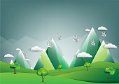 abstract background, Birds on the sky with a cloud and with  Mountain  , vector illustration