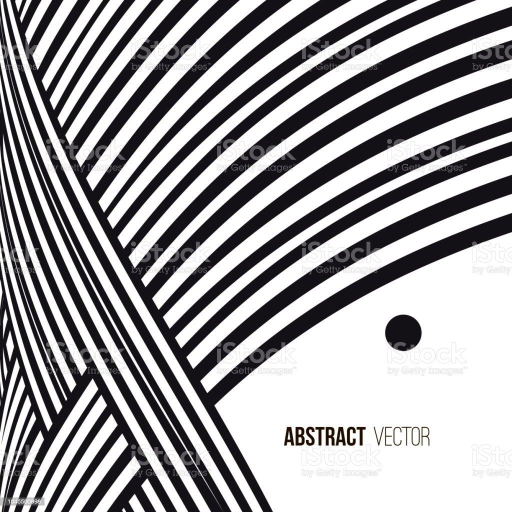 abstrait lignes de courbe noir et blanc avec cadre pour message