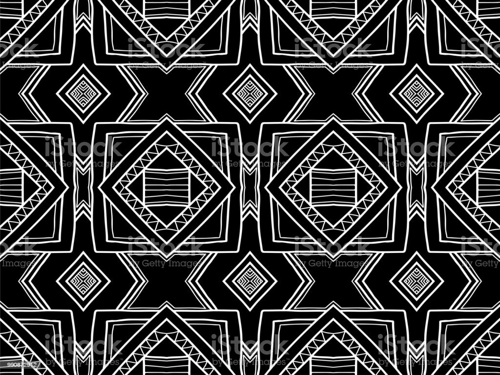 Abstract Background Black And White Ethnic Texture Geometric Wallpaper Stock Illustration Download Image Now Istock