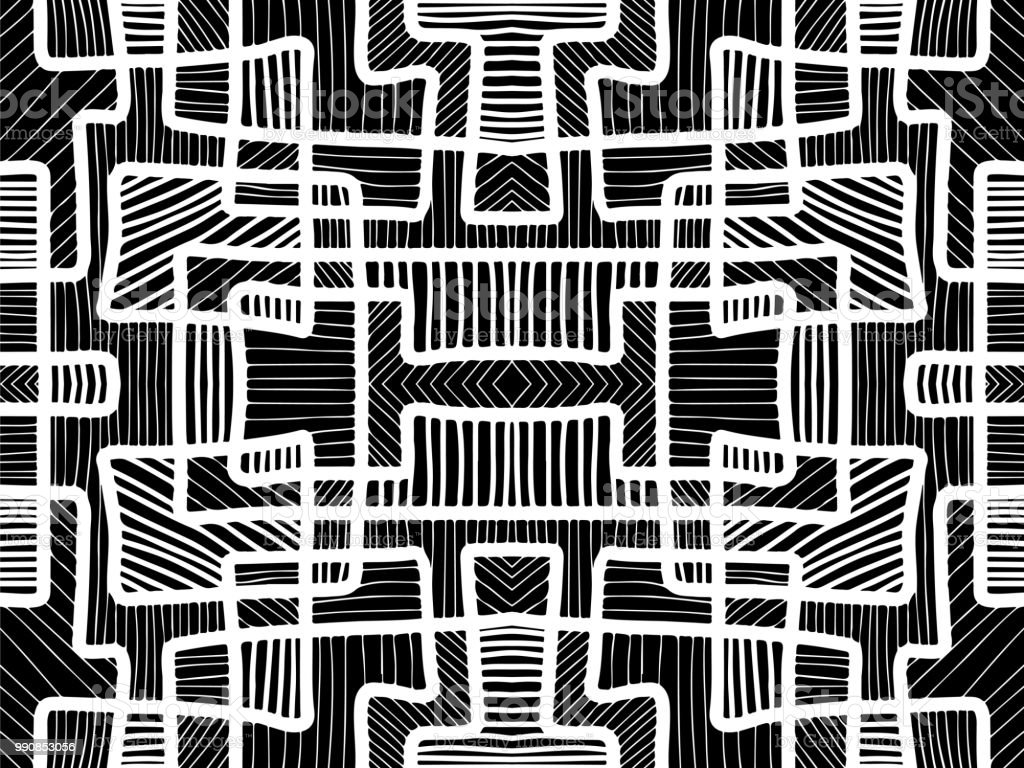 Abstract Background Black And White Texture Aztec Geometric