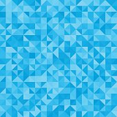 Abstract background blue triangles. Vector, seamless repeating pattern, mosaic