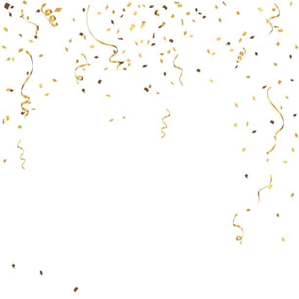 stockillustraties, clipart, cartoons en iconen met abstracte achtergrond viering gouden confetti. vector achtergrond - confetti