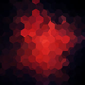 abstract background consisting of red, black  hexagons