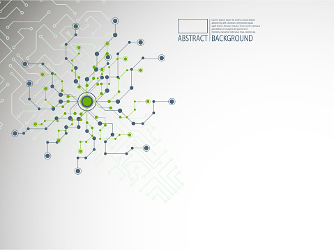 混沌としたドットとライン生体分子dna構造未来的な背景を持つカバー ...