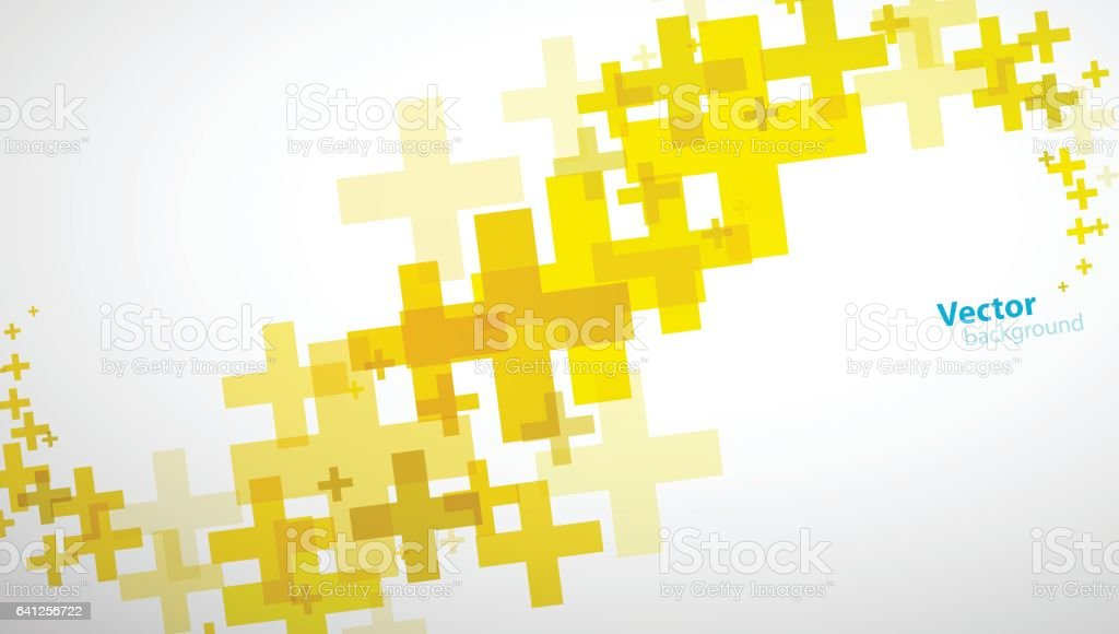 Abstract background created of yellow plus sign. vector art illustration