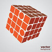 Red 3D Abstract Transparent Cube Concept - Abstract Background Design Illustration in Editable Vector Format