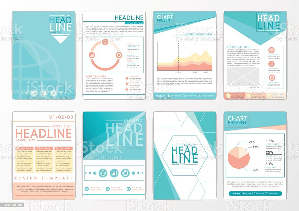 Abstract Background Design, Business Brochure Big Set, Flyer, Marketing,  Magazine Vector
