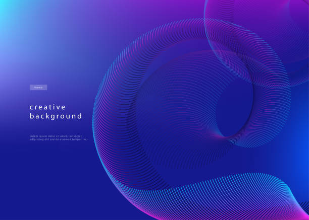 abstract background design. fluid gradient with geometric lines and light effect. motion minimal concept. vector illustration - blue drawings stock illustrations