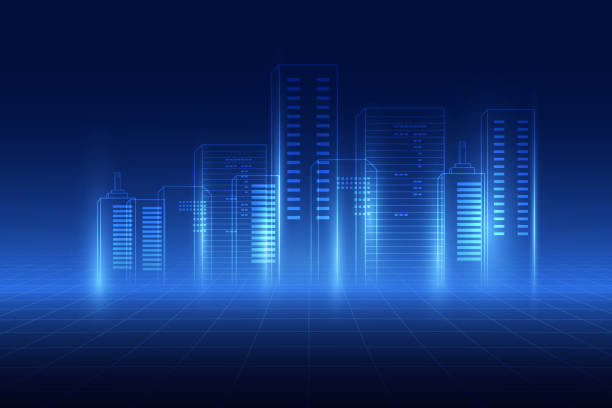 abstract background. digital city concept. abstract complex structure of city. vector illustration - wire frame model stock illustrations
