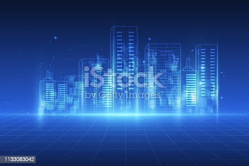 istock abstract background. Digital city concept. Abstract complex structure of city. vector illustration 1133083042