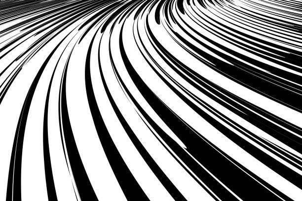 illustrazioni stock, clip art, cartoni animati e icone di tendenza di abstract background. dynamic effect. - bianco e nero