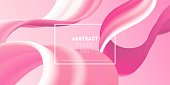 Soft pink colored abstract background, trendy layout, template for Valentine's Day greeting card. Fluid elements in motion. Bright wavy shapes, flow banner, brochure, web page.