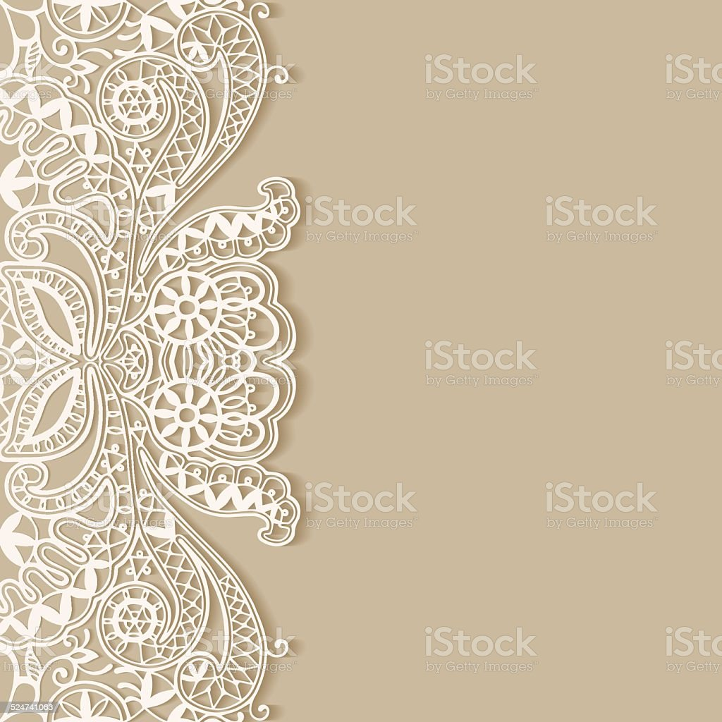 Abstract background, frame border lace pattern, invitation greeting card design vector art illustration