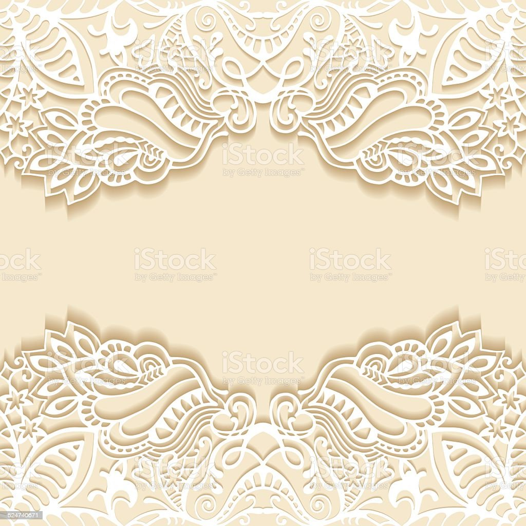 Abstract Background Frame Border Lace Pattern Wedding Invitation