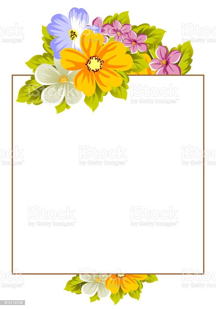Zusammenfassung Hintergrund Rahmen Aus Blumen Designpostkarten Gruß ...