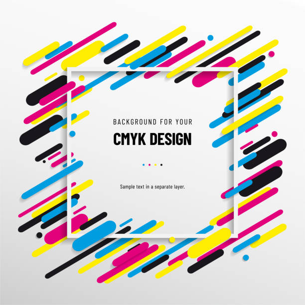 illustrazioni stock, clip art, cartoni animati e icone di tendenza di abstract background from cmyk colors with frame for your text - cmyk