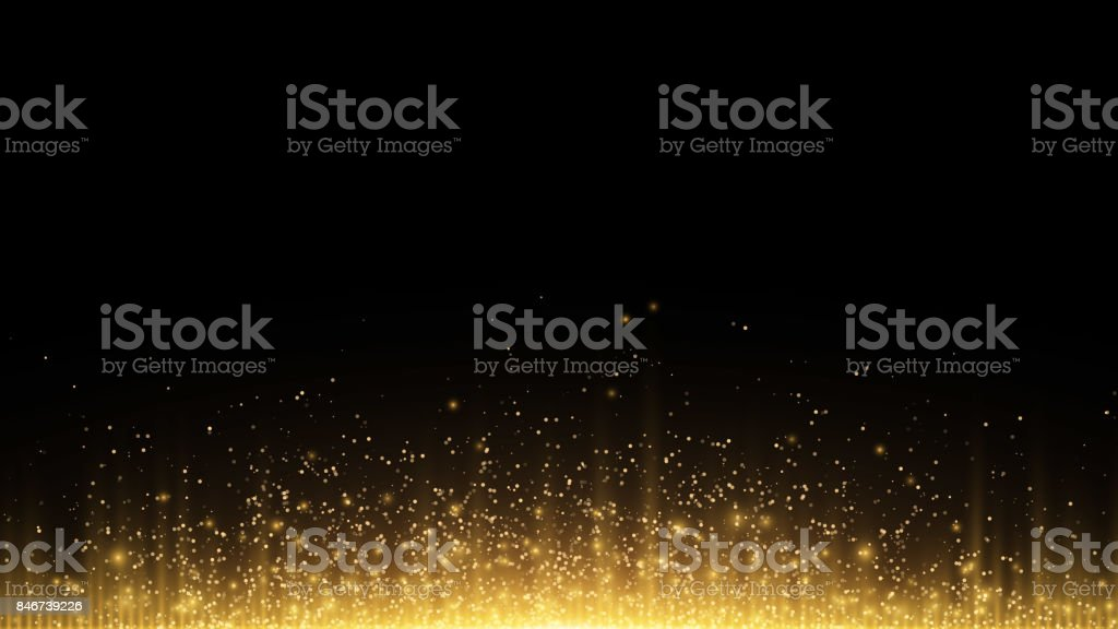 Abstract background. Golden rays of light with luminous magical dust. Glow in the dark. Vector illustration vector art illustration