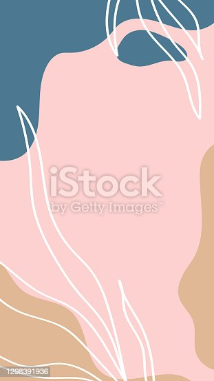 istock Abstract background. Hand drawn various shapes and doodle objects. Use for Instagram stories. Contemporary modern trendy vector illustrations. 1298391936