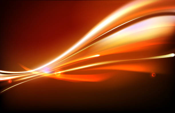 Abstract background in dark red with yellow light lines vector art illustration