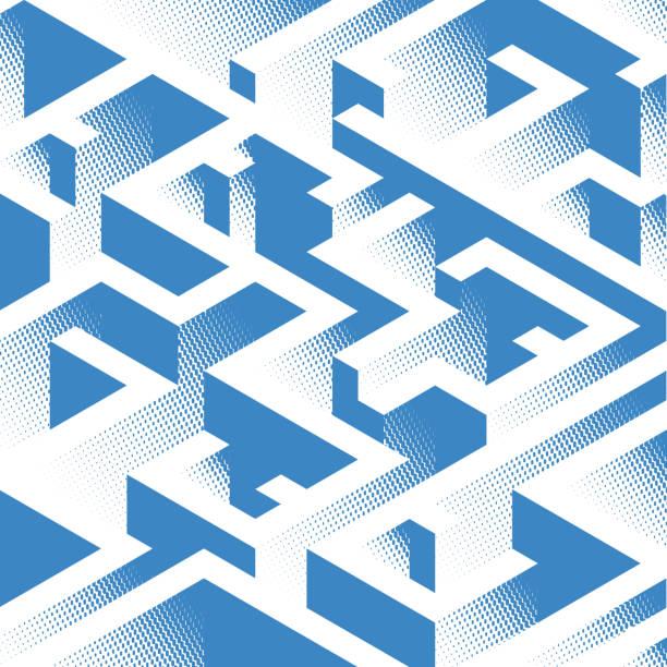 zusammenfassung hintergrund in isometrische stil. ein geometrisches labyrinth. - labyrinthgarten stock-grafiken, -clipart, -cartoons und -symbole