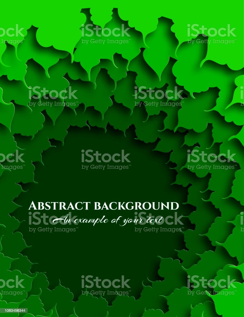 Abstract background in paper cut style. The green foliage of the...