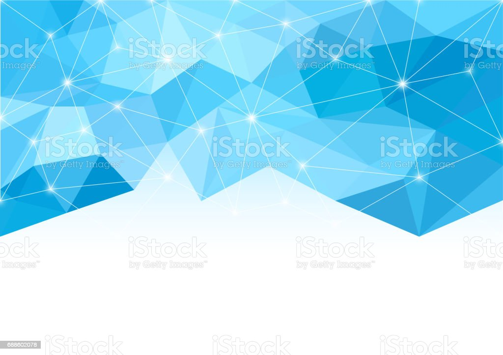 Abstract background in the polygonal style. Shades of blue. Light and sparks. White space for text. vector art illustration