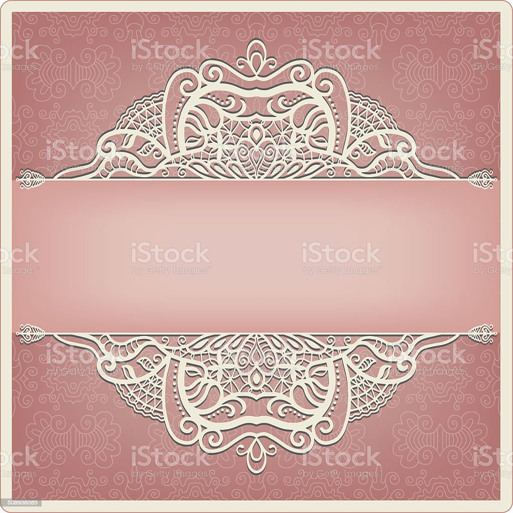 Abstract Background Lacy Frame Border Pattern Wedding Invitation