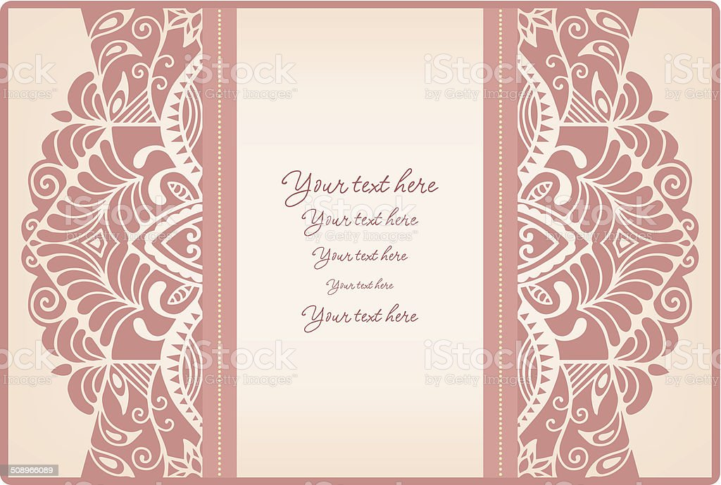 Border Design For Wedding Invitation: Abstract Background Lacy Frame Border Pattern Wedding