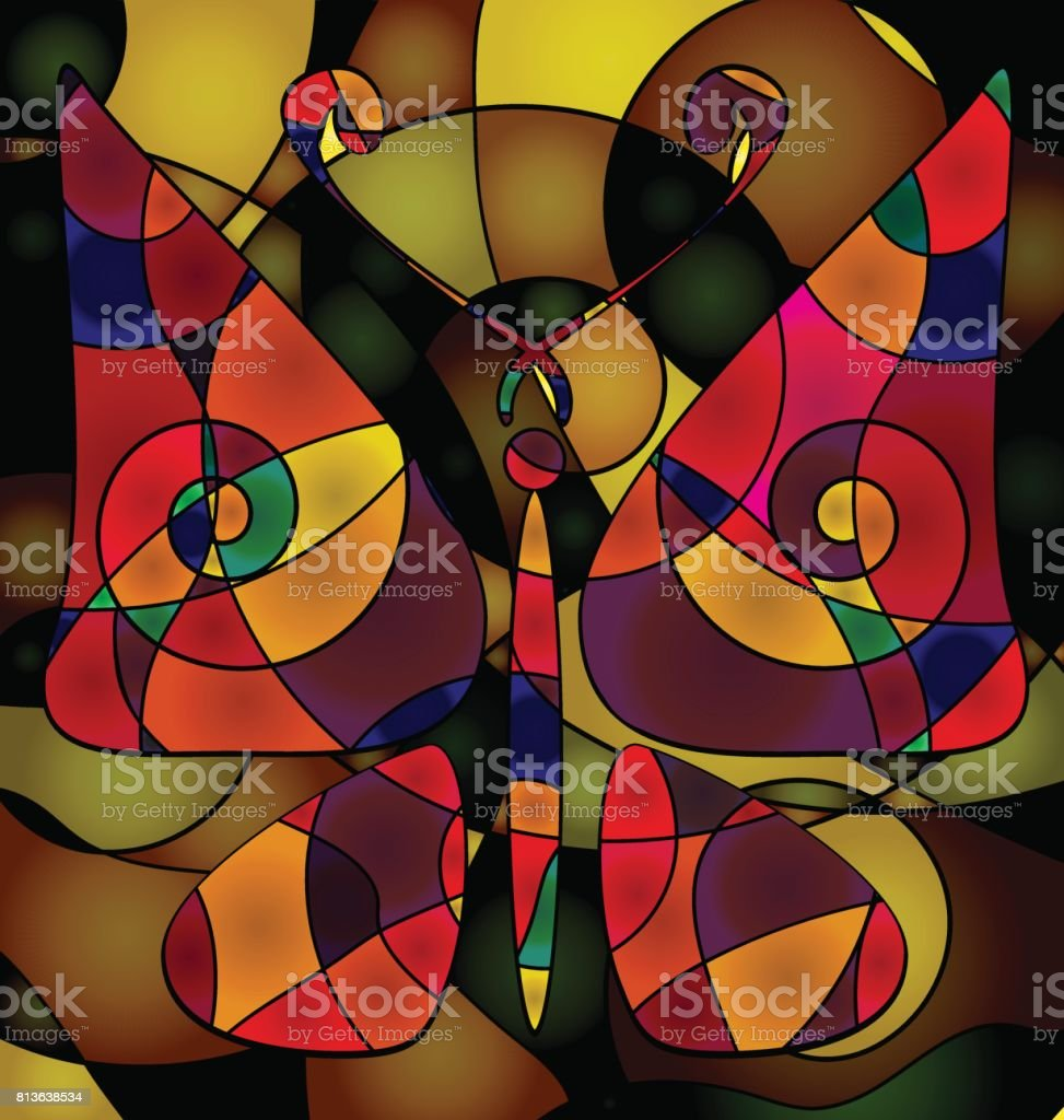 abstract background large butterfly vector art illustration
