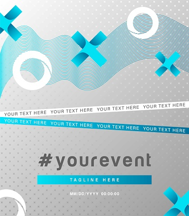 Abstract background line design with crosses and circles banner or invitation card for digital game event,development courses,education webinars.Design template modern flyer with frame for text.Vector