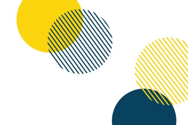 ilustrações, clipart, desenhos animados e ícones de fundo abstrato feito com círculos geométricos em cores amarelas e azuis. - brincadeira