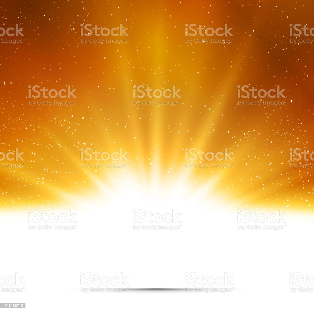 Abstract background. Magic light with gold burst vector art illustration
