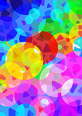Vector Illustration of an beautiful Background Abstract with vivid RGB Multicolor Circle Dots and Triangles