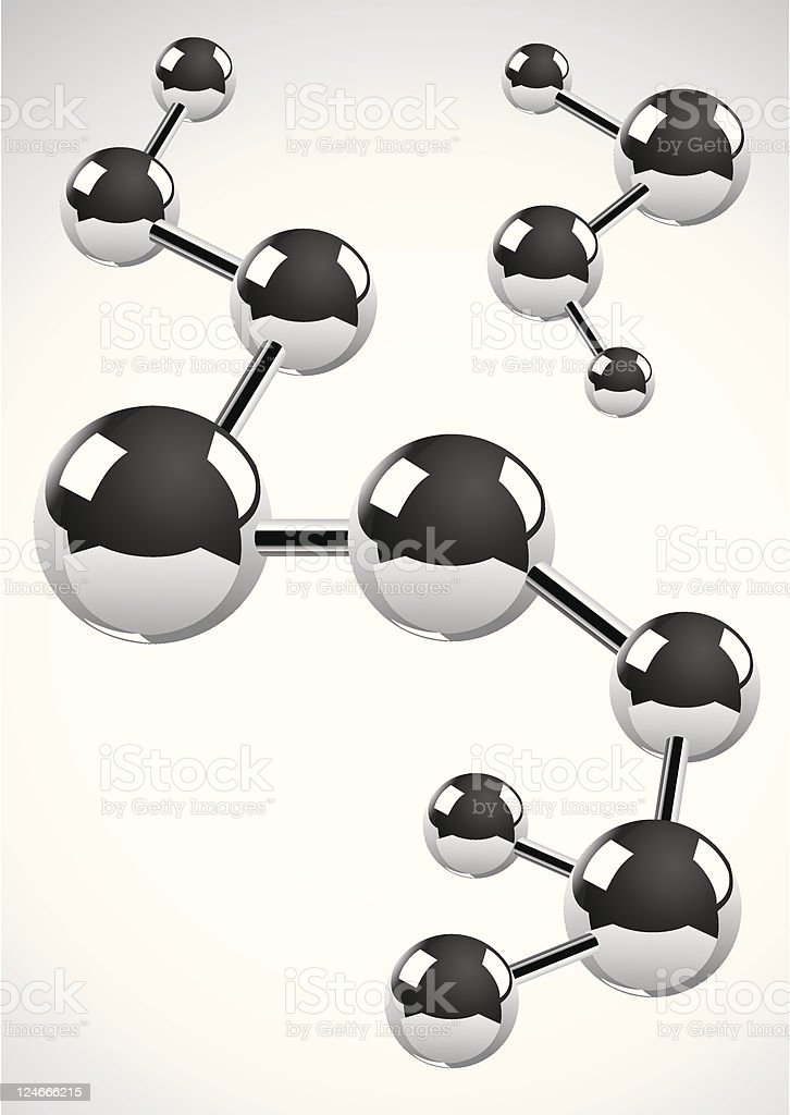 Abstract background of atoms as metal balls royalty-free stock vector art