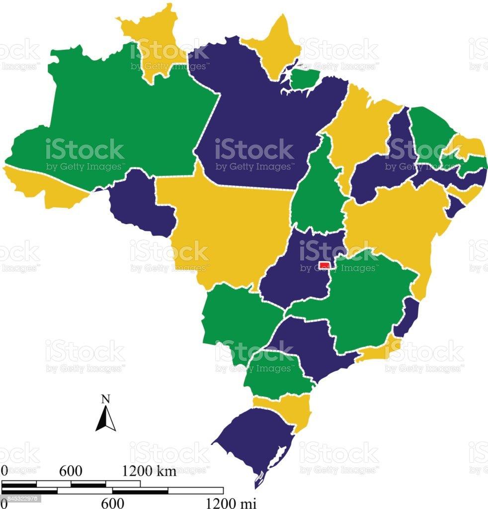 Abstrato base de ilustração de contorno do Brasil mapa vetorial com escalas de milha e quilômetro e e cores da bandeira brasileira - ilustração de arte em vetor