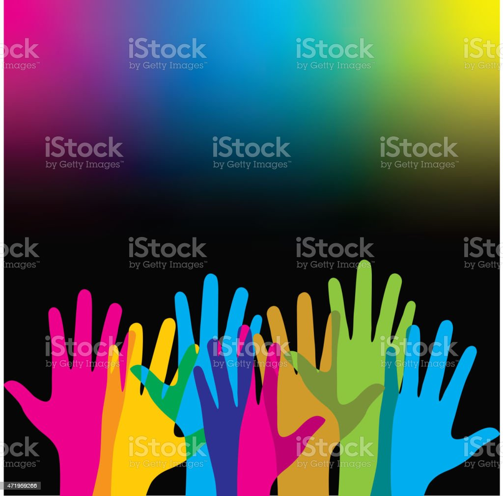 Abstract background of colorful rainbow hands vector art illustration
