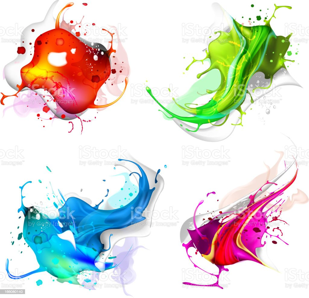 Abstract background of colorful splashes vector art illustration
