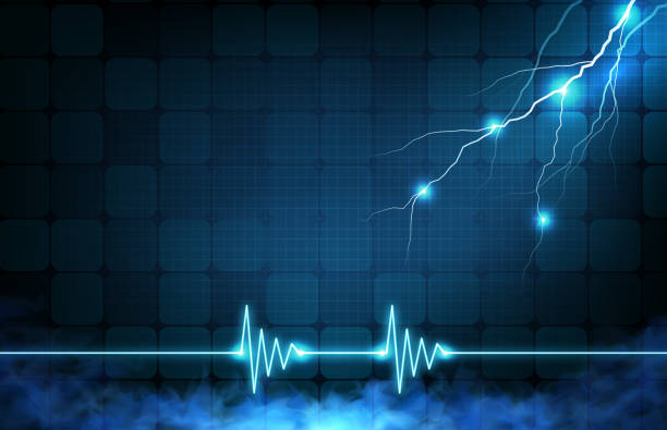 abstract background of digital ECG heartbeat pulse line wave monitor and  glowing lightning storm abstract background of digital ECG heartbeat pulse line wave monitor and  glowing lightning storm lateral ventricle stock illustrations
