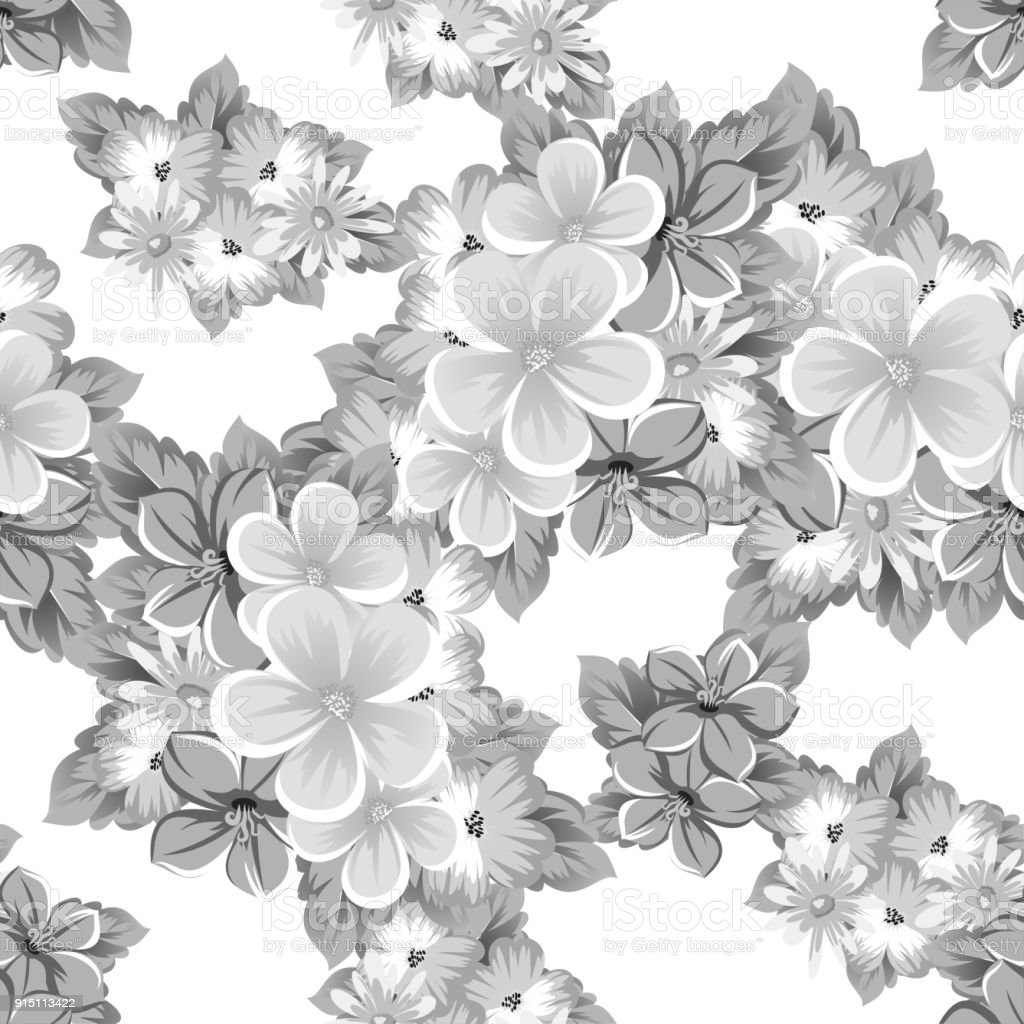 Abstract Background Of Flowers Monochrome Seamless Pattern