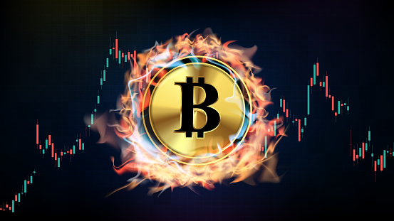 abstract background of futuristic technology Cryptocurrency bitcoin melting in fire and smoke