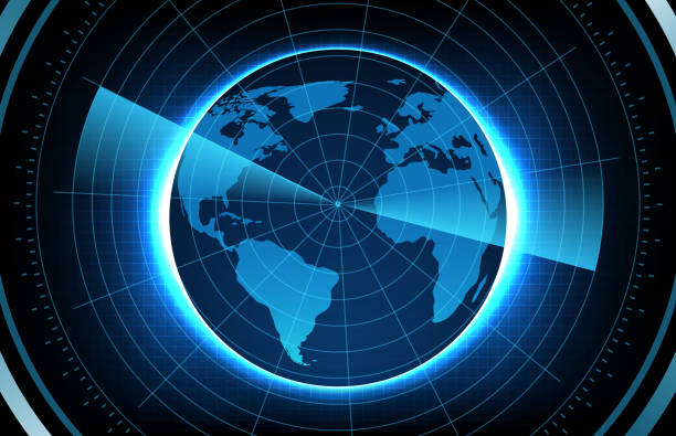 abstract background of globe world maps europe and america with scan interface hud - target australia stock illustrations